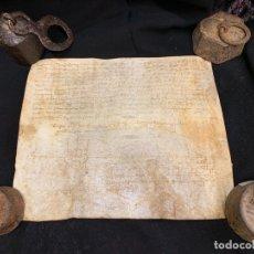 Manuscritos antiguos: ANTIGUO PERGAMINO, ANCIENT PARCHMENT , EN PIEL, MANUSCRITO. VER MEDIDAS Y FOTOS. Lote 175792897