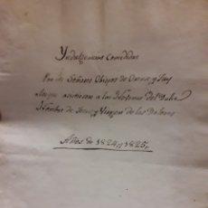 Manuscritos antiguos: TUY INDULGENCIAS CONCEDIDAS AÑO 1824 Y 1825 POR LOS OBISPOS DE ORENSE Y TUY. Lote 176920497