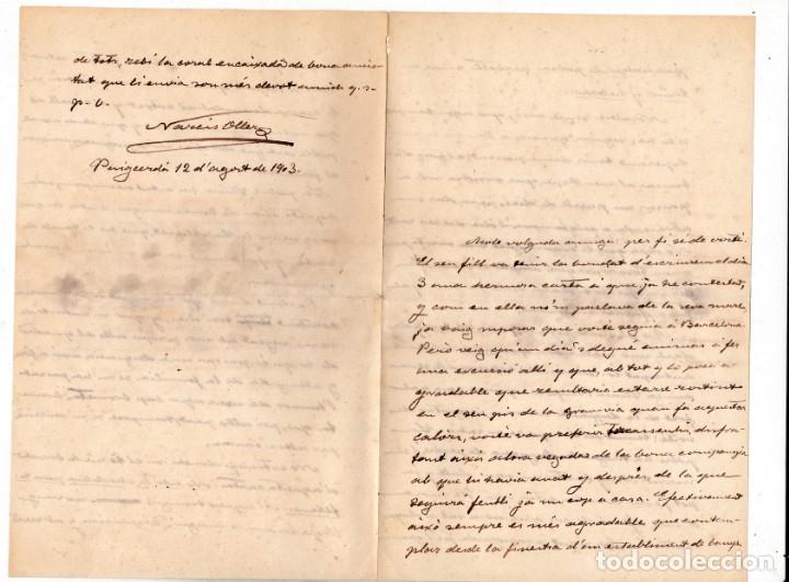 NARCÍS OLLER : CARTA MANUSCRITA FIRMADA 1903 INVITACION A HOMENAJE 1925 Y TARJETA PUBLICITARIA (Coleccionismo - Documentos - Manuscritos)