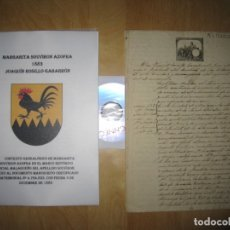 Manuscritos antiguos: MANUSCRITO CERTIFICADO MATRIMONIAL D.ª MARGARITA SOUVIRÓN AZOFRA 1883 MÁLAGA. Lote 177115909