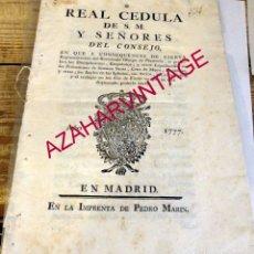 Manuscritos antiguos: 1777, REAL CEDULA PROHIBIENDO LOS DISCIPLINANTES,EMPALADOS Y OTROS....DURANTE LA SEMANA SANTA. Lote 177130835