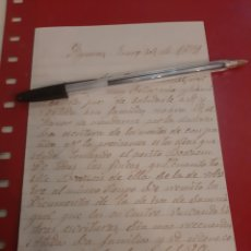 Manuscritos antiguos: 1879 FIGUERAS SOLICITUD DOCUMENTOS. Lote 177558120