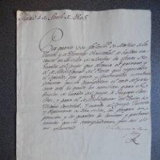Manuscritos antiguos: CAZA FIRMA MARQUESA ESTEPA Y ARIZA AÑO 1805 BONITO Y RARO NOMBRAMIENTO GUARDA CAZA Y ALHONDIGUERO. Lote 177620094