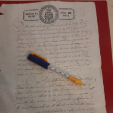 Manuscritos antiguos: 1837SANTIAGO FAZOUROKUGO CESIONES ISABEL II SELLO SECO. Lote 177712448