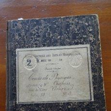 Manuscritos antiguos: FÍSICA, ILUSTRADO, ECOLE CENTRALE DES ARTS ET MANUFACTURER, S XIX, 150 PAGS APROX. Lote 177725880