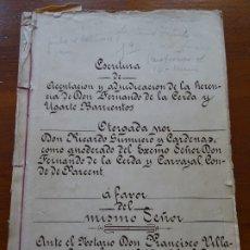 Manuscritos antiguos: HERENCIA A FAVOR DEL CONDE DE PARCENT, FERNANDO DE LA CERDA, 1910, MÁLAGA, TORREMOLINOS, ALMOGÍA. Lote 177726329