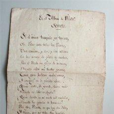 Manuscrits anciens: ANTIGUO SONETO MANUSCRITO. FIRMADO POR EL AUTOR. EN EL ÁLBUM DE PILAR. Lote 177961933