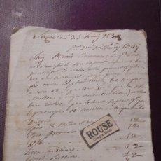 Manuscritos antiguos: CARDEDEU (BARCELONA) DOCUMENTO RECETA MANUSCRITO TOMAS BALVEY 23 JUNY 1838 - . Lote 177984972