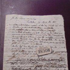 Manuscritos antiguos: CARDEDEU / BARCELONA CARTA MANUSCRITA TOMAS BALVEY A JAUME BALVEYY MARTORELL CARDEDEU 20 MARZO 1831 . Lote 178044824
