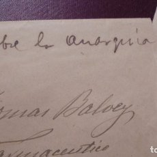 Manuscritos antiguos: ANARQUIA / CARDEDEU - TOMAS BALVEY . SOBRE Y TRES CARTAS MANUSCRITAS 1895 - . Lote 178090894