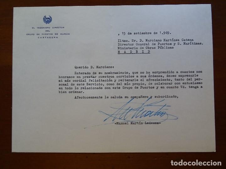 FRANQUISMO, FELICITACIÓN DIRECTOR PUERTO CARTAGENA MANUEL MARTÍN LEDESMA (Coleccionismo - Documentos - Manuscritos)