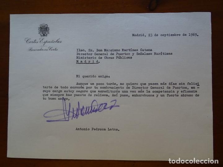 FRANQUISMO, FELICITACIÓN ANTONIO PEDROSA LATAS PROCURADOR CORTES (Coleccionismo - Documentos - Manuscritos)