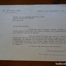 Manuscritos antiguos: FRANQUISMO, FELICITACIÓN INGENIERO NAVARRO OLIVA. Lote 178680683