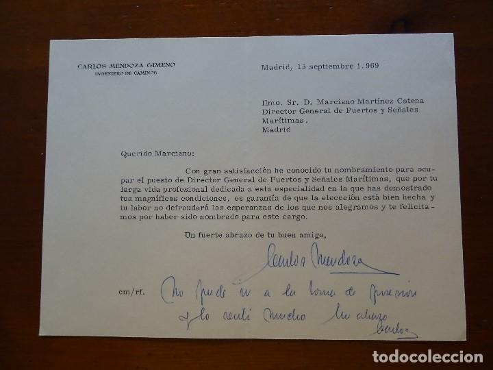 FRANQUISMO, FELICITACIÓN INGENIERO CARLOS MENDOZA GIMENO (Coleccionismo - Documentos - Manuscritos)