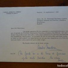 Manuscritos antiguos: FRANQUISMO, FELICITACIÓN INGENIERO CARLOS MENDOZA GIMENO. Lote 178682043