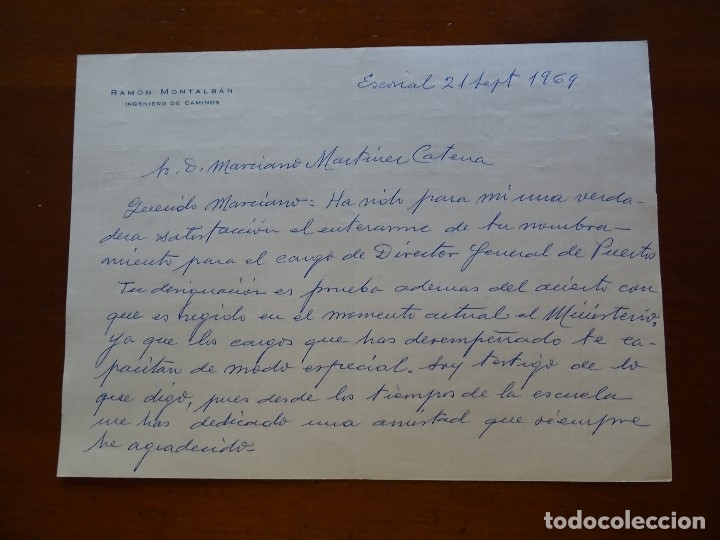 FRANQUISMO, FELICITACIÓN RAMON MONTALBAN INGENIERO (Coleccionismo - Documentos - Manuscritos)
