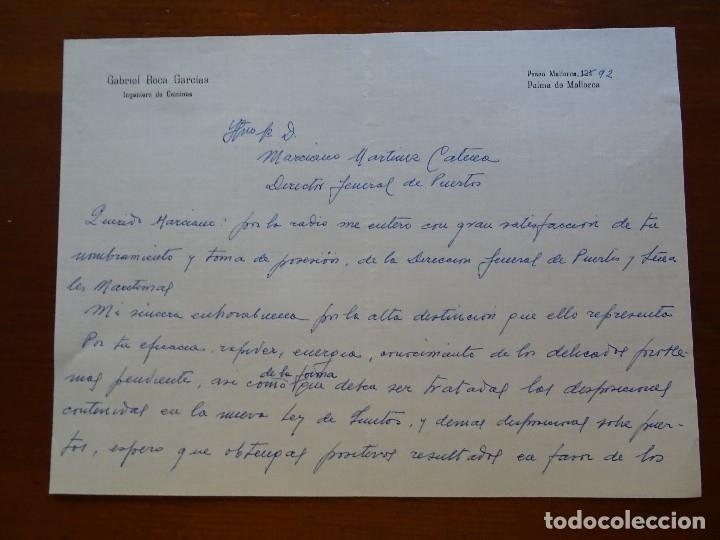 FRANQUISMO, FELICITACIÓN GABRIEL ROCA INGENIERO (Coleccionismo - Documentos - Manuscritos)