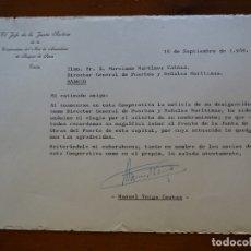 Manuscritos antiguos: FRANQUISMO, FELICITACIÓN ARMADORES BUQUES PESCA CÁDIZ VEIGA COSTAS. Lote 178683622
