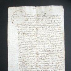 Manuscritos antiguos: AÑO 1598. HUELVA, CORTEGANA. ESCRITURA DE VENTA DE TIERRAS DEL ESPARTERO. TÉRMINO AROCHE. MAYORAZGO.. Lote 178686643