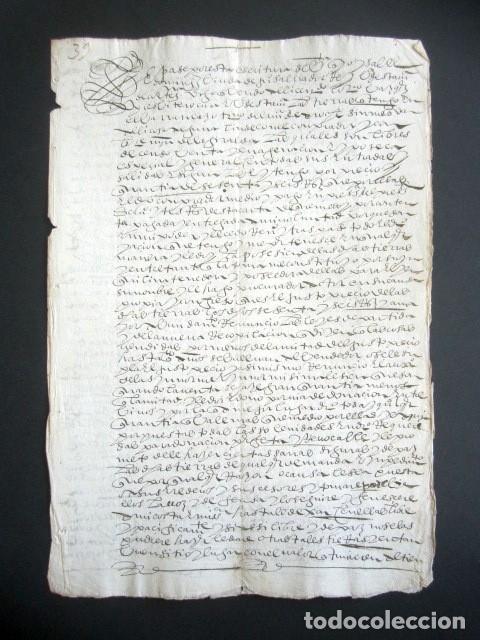 AÑO 1605. HUELVA, CORTEGANA. ESCRITURA DE TIERRAS. BARRANCARO, TÉRMINO DE AROCHE. MAYORAZGO. (Coleccionismo - Documentos - Manuscritos)