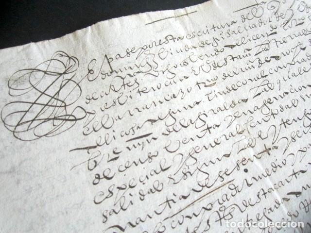 Manuscritos antiguos: AÑO 1605. HUELVA, CORTEGANA. ESCRITURA DE TIERRAS. BARRANCARO, TÉRMINO DE AROCHE. MAYORAZGO. - Foto 2 - 178686970