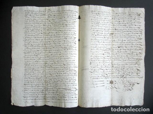 Manuscritos antiguos: AÑO 1605. HUELVA, CORTEGANA. ESCRITURA DE TIERRAS. BARRANCARO, TÉRMINO DE AROCHE. MAYORAZGO. - Foto 3 - 178686970