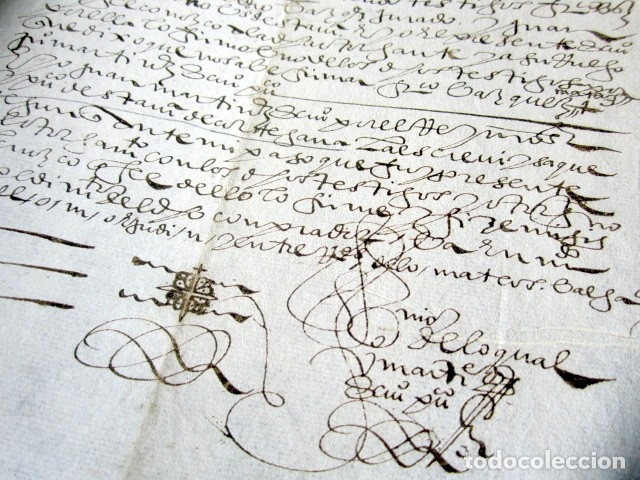 Manuscritos antiguos: AÑO 1605. HUELVA, CORTEGANA. ESCRITURA DE TIERRAS. BARRANCARO, TÉRMINO DE AROCHE. MAYORAZGO. - Foto 4 - 178686970