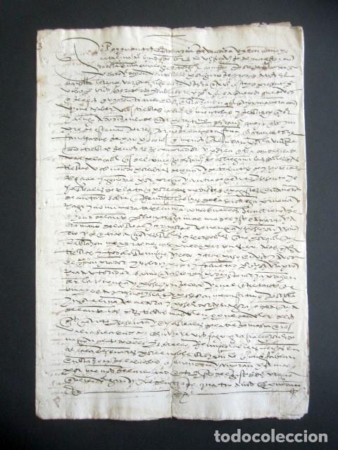 AÑO 1595. HUELVA, CORTEGANA. CARTA VENTA DE TIERRA EN LAS ALBERQUILLAS, HEREDAD DEL HITO. MAYORAZGO (Coleccionismo - Documentos - Manuscritos)
