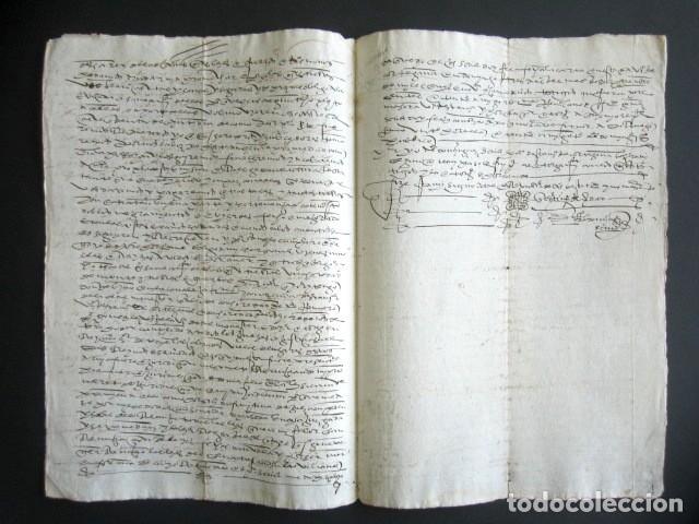 Manuscritos antiguos: AÑO 1595. HUELVA, CORTEGANA. CARTA VENTA DE TIERRA EN LAS ALBERQUILLAS, HEREDAD DEL HITO. MAYORAZGO - Foto 2 - 178687131