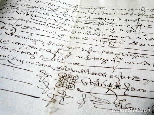 Manuscritos antiguos: AÑO 1595. HUELVA, CORTEGANA. CARTA VENTA DE TIERRA EN LAS ALBERQUILLAS, HEREDAD DEL HITO. MAYORAZGO - Foto 3 - 178687131