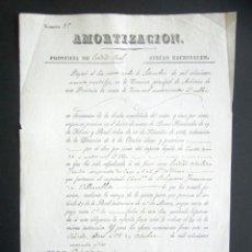 Manuscritos antiguos: AÑO 1842. CIUDAD REAL. AMORTIZACIÓN DE FINCAS. HEREDAD CONVENTO DE LAS FRANCISCANAS. VILLAROBLEDO. Lote 178687372