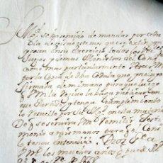 Manuscritos antiguos: AÑO 1668. MANDATO DE S.M. PARA QUE CESEN EJERCICIO VEEDORES, JUECES, MINISTROS. FIRMA SECRETARIO. Lote 178688468
