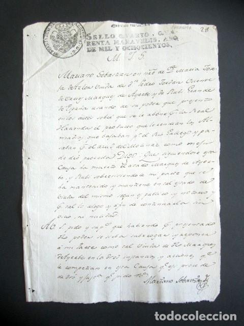 AÑO 1800. ZARAGOZA. PODER VIUDA MARQUÉS DE AYERBE Y DE RUBI. ALMANDÍAS, RÍO GALLEGO. (Coleccionismo - Documentos - Manuscritos)