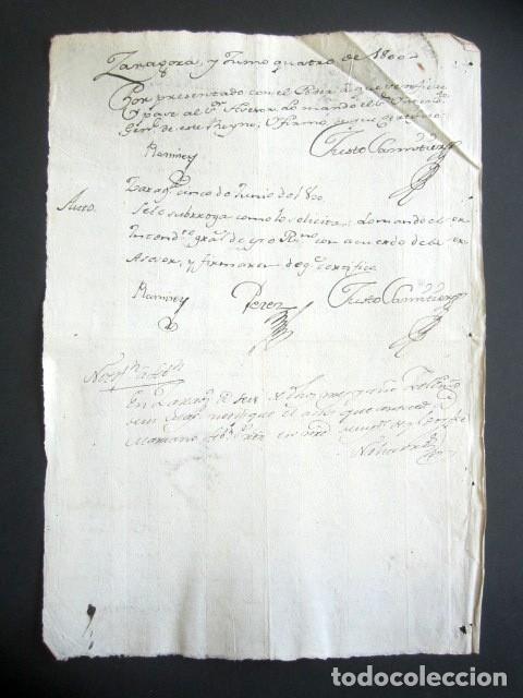 Manuscritos antiguos: AÑO 1800. ZARAGOZA. PODER VIUDA MARQUÉS DE AYERBE Y DE RUBI. ALMANDÍAS, RÍO GALLEGO. - Foto 2 - 178689077