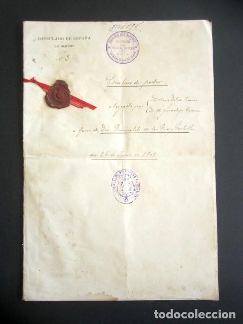 AÑO 1902. PODER AL CONSUL ESPAÑOL EN OLORÓN, FRANCIA. TIERRAS Y HEREDADES EN LIMPIAS, SANTANDER (Coleccionismo - Documentos - Manuscritos)