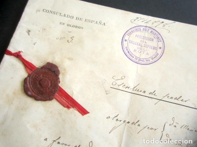 Manuscritos antiguos: AÑO 1902. PODER AL CONSUL ESPAÑOL EN OLORÓN, FRANCIA. TIERRAS Y HEREDADES EN LIMPIAS, SANTANDER - Foto 2 - 178689656