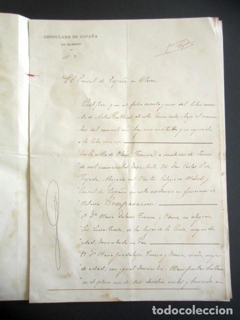 Manuscritos antiguos: AÑO 1902. PODER AL CONSUL ESPAÑOL EN OLORÓN, FRANCIA. TIERRAS Y HEREDADES EN LIMPIAS, SANTANDER - Foto 3 - 178689656