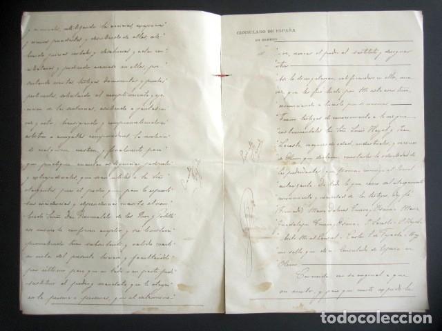 Manuscritos antiguos: AÑO 1902. PODER AL CONSUL ESPAÑOL EN OLORÓN, FRANCIA. TIERRAS Y HEREDADES EN LIMPIAS, SANTANDER - Foto 4 - 178689656