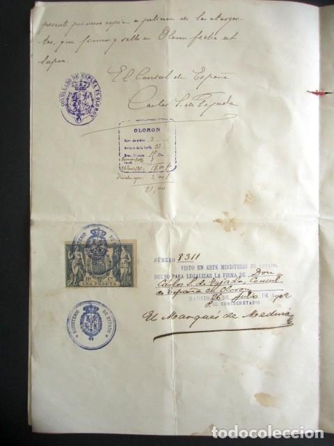 Manuscritos antiguos: AÑO 1902. PODER AL CONSUL ESPAÑOL EN OLORÓN, FRANCIA. TIERRAS Y HEREDADES EN LIMPIAS, SANTANDER - Foto 5 - 178689656