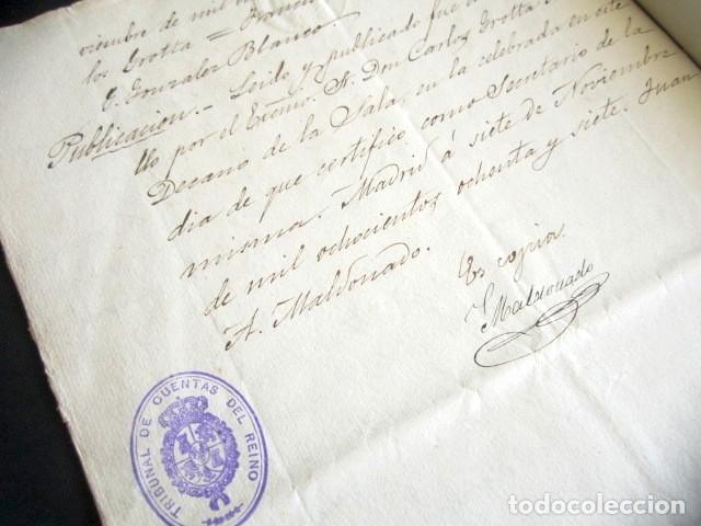 Manuscritos antiguos: AÑO 1887. OFICIO. TRIBUNAL DE CUENTAS DEL REINO DE MADRID. PLEITO Y FALLO. DESFALCO. TEMA FILATELIA. - Foto 4 - 178689883