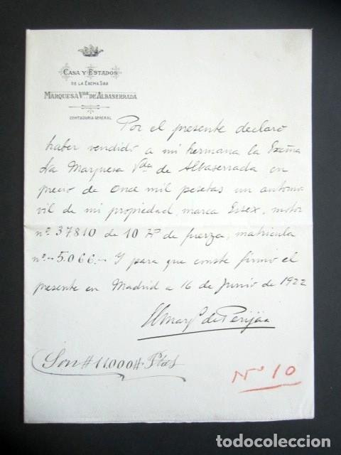 AÑO 1922. MADRID. VENTA DE AUTOMOVIL DE LA MARCA ESSEX CON MOTOR DE 10 HP DE FUERZA. (Coleccionismo - Documentos - Manuscritos)