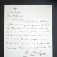 Manuscritos antiguos: AÑO 1922. MADRID. VENTA DE AUTOMOVIL DE LA MARCA ESSEX CON MOTOR DE 10 HP DE FUERZA. . Lote 178690565