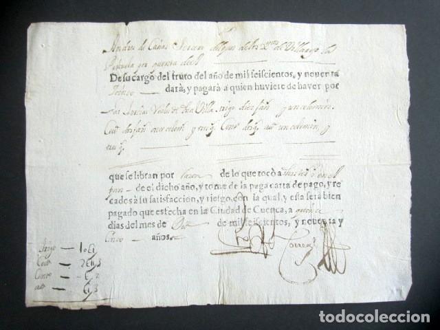 AÑO 1695. CUENCA. CARTA PAGO DE TERCIAS DEL PAN, TRIGO, ENTENO, CEBANDA Y AVENA. (Coleccionismo - Documentos - Manuscritos)