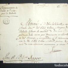 Manuscritos antiguos: AÑO 1845. MADRID. PAGARÉ DEL MARQUÉS DE VALVERDE POR IMPORTE DE 10.000 REALES DE VELLÓN. . Lote 178703851