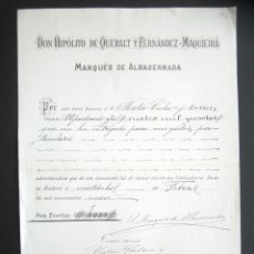Manuscritos antiguos: PAGARÉ DEL MARQUÉS DE ALBASERRADA POR 4.000 PESETAS. HIPÓLITO DE QUERALT FERNÁNDEZ- MAQUEIRA. . Lote 178708505