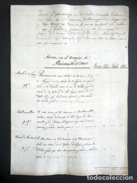 AÑO 1824. VILLAMAYOR DE CAMPOS. TASACIÓN TIERRAS EN TÉRMINO DE QUINTANILLAS DEL MONTE. CAMPO VILLAR. (Coleccionismo - Documentos - Manuscritos)