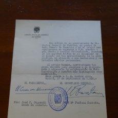 Manuscritos antiguos: FRANQUISMO, FELICITACIÓN CÁMARA COMERCIO MADRID, JOSÉ OTAMENDI, FONTANA TARRATS. Lote 178722115