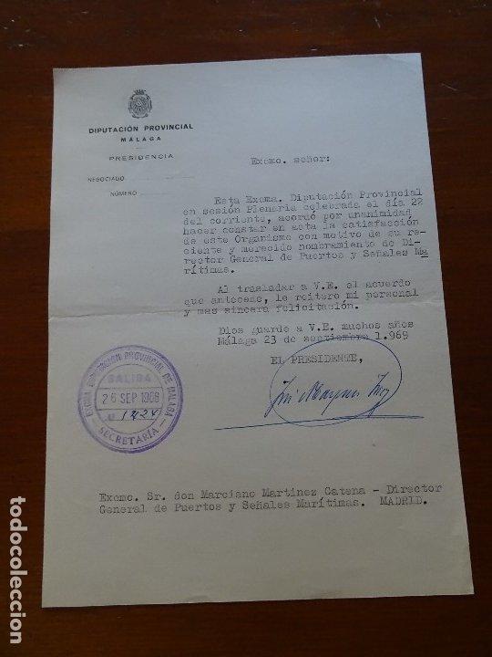 FRANQUISMO, FELICITACIÓN DIPUTACIÓN MÁLAGA (Coleccionismo - Documentos - Manuscritos)