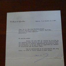 Manuscritos antiguos: FRANQUISMO, FELICITACIÓN MINISTRO AGRICULTURA. Lote 178723880