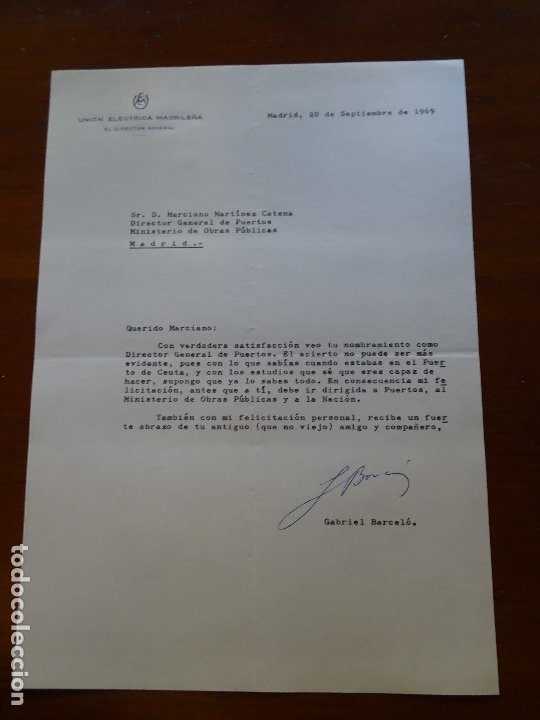 FRANQUISMO, FELICITACIÓN DG UNIÓN ELÉCTRICA MADRILEÑA GABRIEL BARCELÓ (Coleccionismo - Documentos - Manuscritos)
